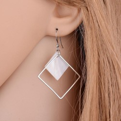 Silver Plated Geometric Earrings Square Jewelry White Dangle Fashion Earrings