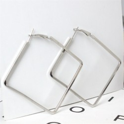 Fashion White Gold Plated Plain 50 mm Large Square Hoop Earrings Party Jewelry