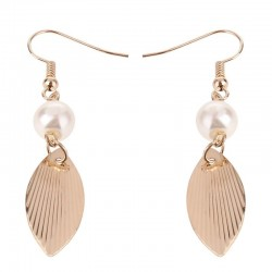Retro Golden Leaves Shape Pearl Earrings Temperament Female Long Earring