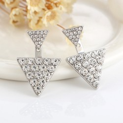 New shiny triangular earrings design rhine stone jewelry for woman
