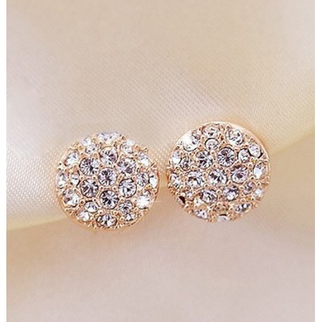 Korean Elegant Gorgeous Sparking Rhinestone Zircon Round Stud Earrings