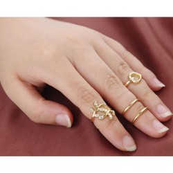 4PCS/Set Rings Urban Chic Plated Crystal Plain Above Knuckle Rings