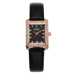 Women's Watch Black Square Dial Trendy Quartz Watch