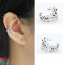 Tylish Hollow Flower Rhinestones Earring Without Clip Piercing Earrings for Women