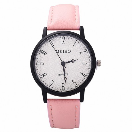 Women Fashion Leather Band Analog Quartz Round Wrist Watch