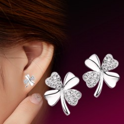 Fashion Sterling Silver Lucky Four Leaf Clover Cute Jewelry Ear Stud Earrings