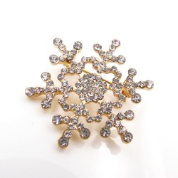 Fashion Crystal Set Auger Christmas Snowflake Brooch Pin Jewelry Gift For Women