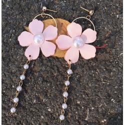 Ladies Earrings Pearls Petal Doorbell Earrings Beads Fringed Long Earrings For Women