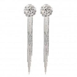 Silver Tassel Drop Earrings Luxury Crystal Rhinestone Clip-on Long Earring