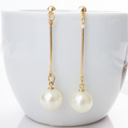 Women Long Pearl Drop Gold Color Bohemian Stud Earring For women