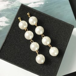 Beauty Women Faux Pearl Long Dangle Drop Earrings for women