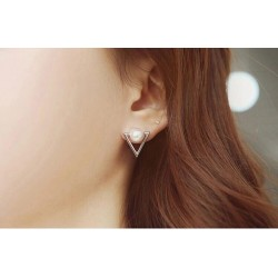 Geometric triangle Simulated pearl stud earrings