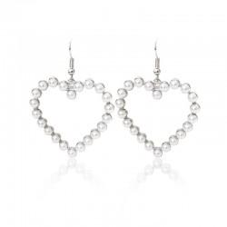Women and Girl Pearl Love Heart Drop Dangle Hook Earrings Wedding Jewelry