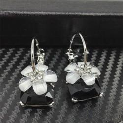 Women Fashion Cherry Flower Drop Dangle Crystal Ear Hook Earrings Jewelry