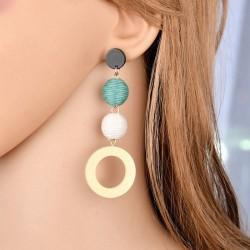 Hot Beauty Women Alloy Hemp Rope Wood Circle Ball Pendant Pierced Hook Earrings