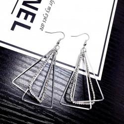Three Dimensional Triangle ear Hook Multi-layer Metal Earrings For women