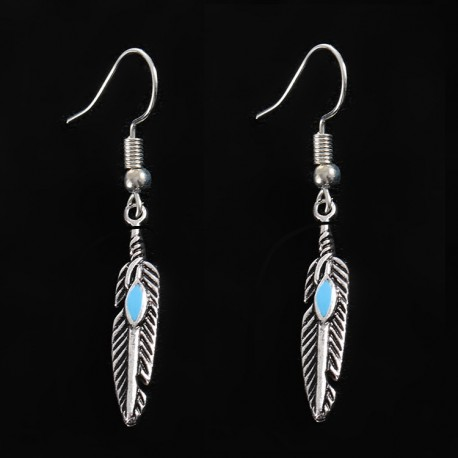 European And American Fashion Accessories Feather Tassels Alloy Earrings For Women.