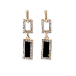 Geometric Earrings Long Chains Black Crystal Drop Earrings for Women