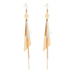 Women Fashion Double Long Triangle Geometric Dangle Drop Earrings