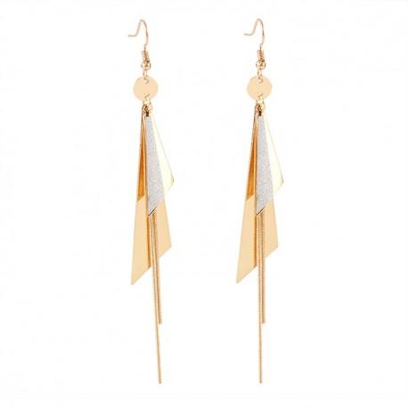 Women Fashion Double Long Triangle Geometric Dangle Drop Earrings