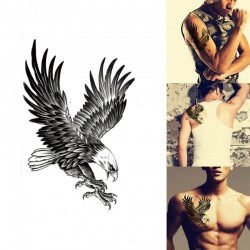 Eagle Waterproof big black Temporary Body Art Arm Shoulder Chest Tattoo Sticker