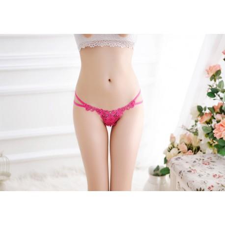 Flower embroidery sexy hollow low waist underwear