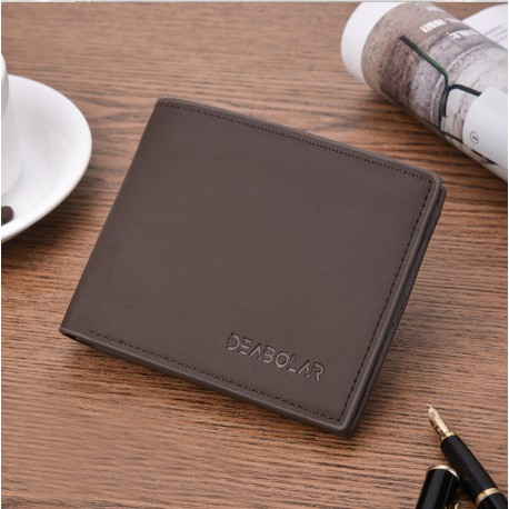 Men's short soft leather fashion wallet