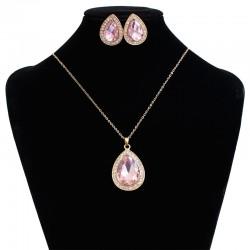 Indian Vintage Water Drop Pendant Big Carat Dubai Crystal Jewelry Sets