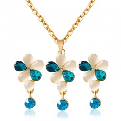 Zinc Alloy Gold Plated Dangle Earrings and Necklace  White Opal and blue Crystal