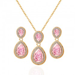 Crystal Diamond Water Drop Necklace Earrings Sets