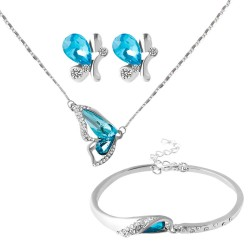 New Blue Butterfly Austrian Crystal Jewelry Set