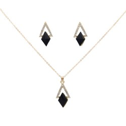 New Crystal Triangle hollow out jewelry Set Black Acrylic geometry pendant Necklace