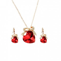 Metal Heart Crystal Pendant+Necklass