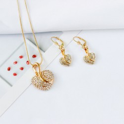 Women's 3D Jewelry Set Rhinestone, Rose Gold Plated Heart Stylish,  Drop Earrings Pendant Necklace
