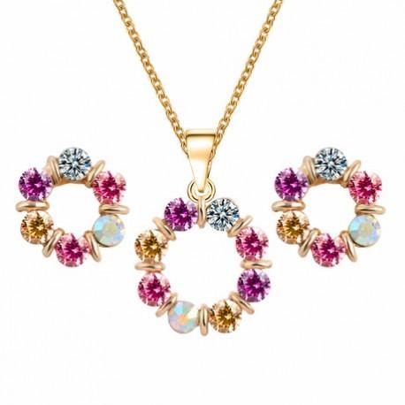 Women's Crystal Jewelry Set Crystal Flower Ladies,  Earrings Pendant Necklace