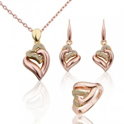 FIine Rhinestone Crystal Heart To Heart 3 Piece Jewelry Set Rose Gold(Earrings, Ring AND Necklaces