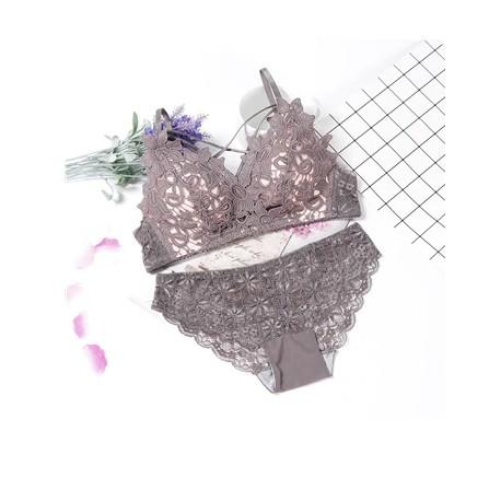 lingerie bra set wire free lenceria sexy bielizna damska komplety Cup AB lace top wine red lenceria lace underwear set