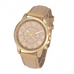 Fashion Geneva Roman Numerals Leather Watch