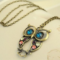 Vintage Retro Hollow Owl Necklace