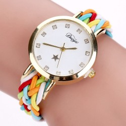 Gold Braided Leather Wrist Watch For Women