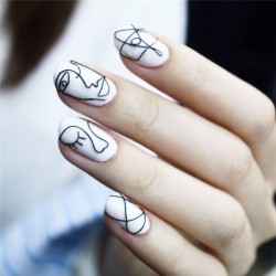 24pcs/Set Ins Style Abstract Art False Nails White Pre-design Short Round Head Full Cover Nail Tips Fnished Nail Art