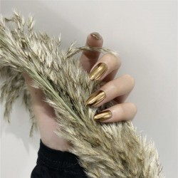Metallic Mirror Bright Gold False Stilettos Nail Yellow Golden Metal Oval Stiletto Sharp Fake Nails Manicure Full Nails Art Tips