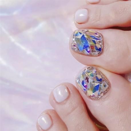 Silver White Full of Diamonds Nails 24pcs Square Head Short Paragraph Manicure Accessorie Summer Bride's Fake Toenail Patch Nail