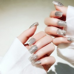 24PCS Press on Nails Glitter Bling Sequins Fake Nails with Glue Round Head Water Ripple False Nails Short Fake Nail with Design