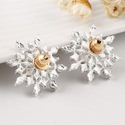 Crystal Snow Flake Stud Earrings For Women