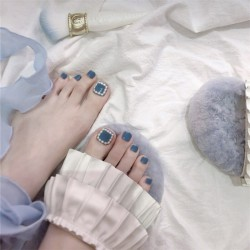 Pearl Smoky Blue Fake Nails Square Head Short Paragraph Manicure Accessories Summer Bride's Fake Toenail Patch Nail Art