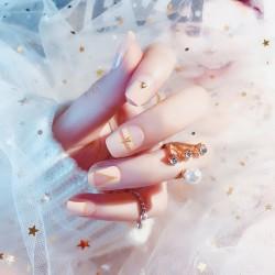 24PCS Pink Short False Nails with Glue French Design Fake Nails with Rhinestones Shining Full Cover Press on Nails Set 2020