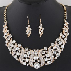 Gold Color Rhinestone Crystal Chain Necklace + Drop Earrings