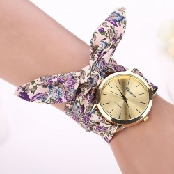 Fashion Design Ladies flower cloth band watch for women