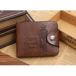 Men's business three fold Leather wallet